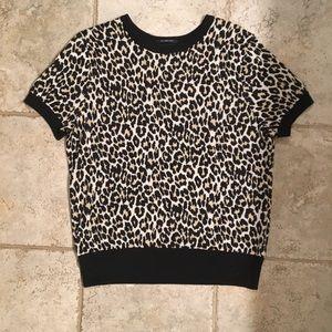 Short sleeve leopard sweater